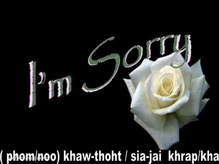 ( phom/noo) khaw-thoht / sia-jai  khrap/kha