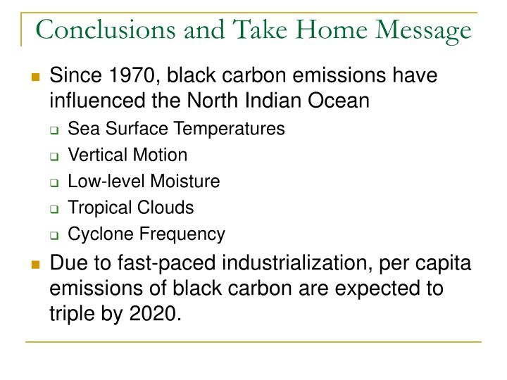Conclusions and Take Home Message