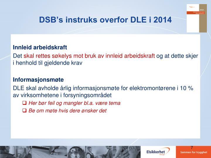 DSB's instruks overfor DLE i 2014