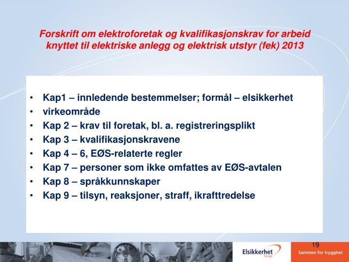 Forskrift om elektroforetak og kvalifikasjonskrav for arbeid knyttet til elektriske anlegg og elektrisk utstyr (fek) 2013