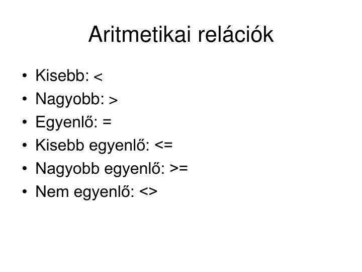 Aritmetikai relációk