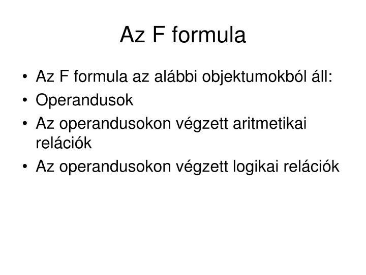 Az F formula
