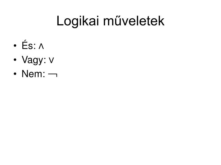 Logikai műveletek