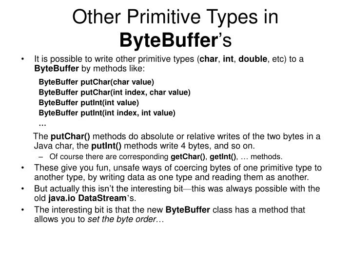 Other Primitive Types in