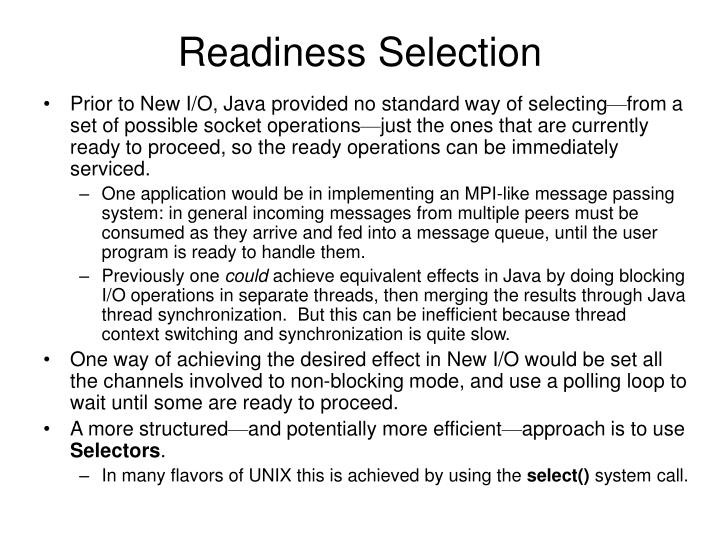 Readiness Selection