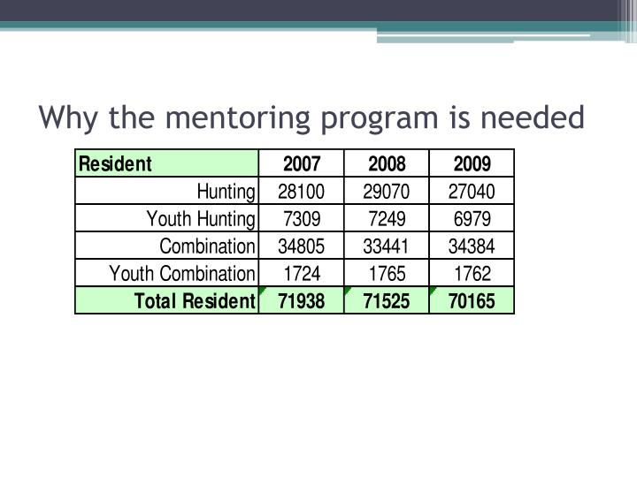 Why the mentoring program is needed