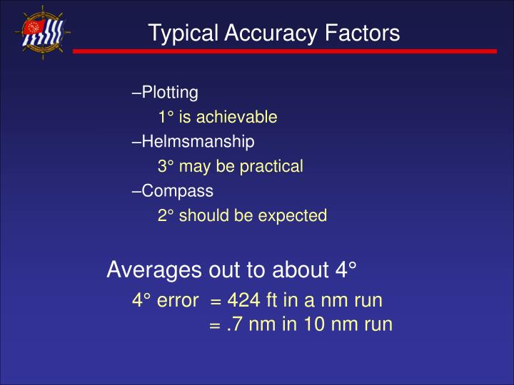 Typical Accuracy Factors