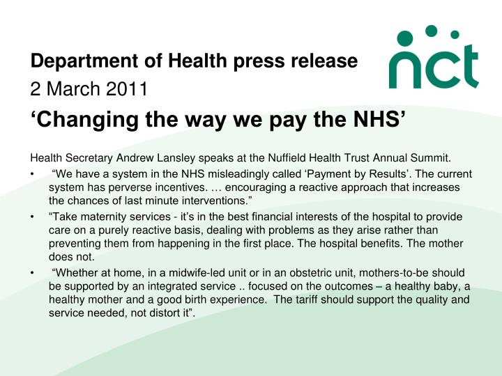 Department of Health press release