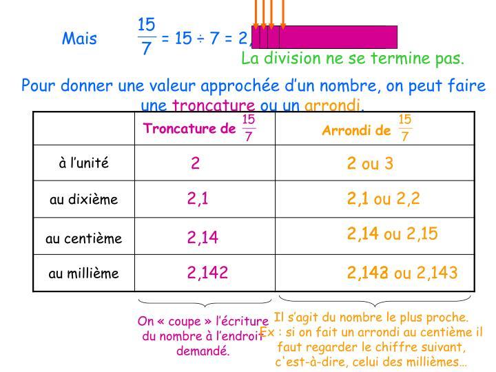 Mais             = 15 ÷ 7 = 2,142857143…