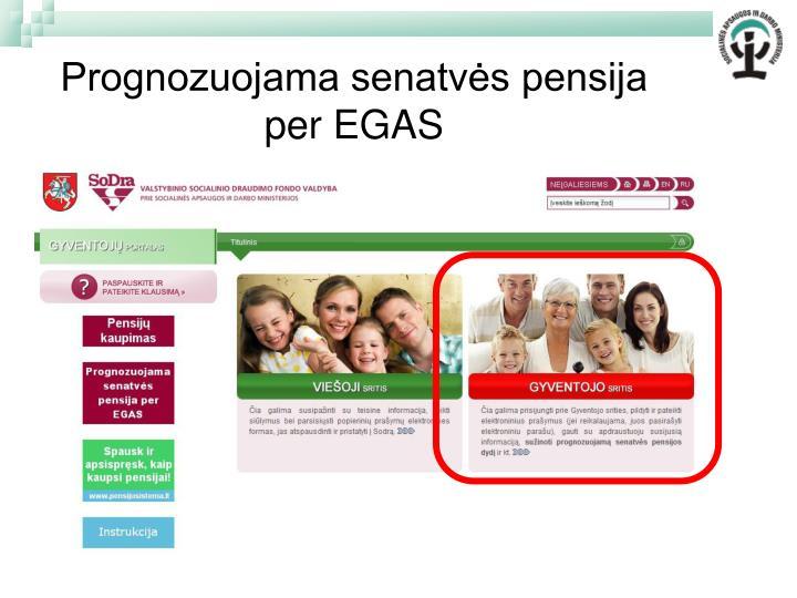 Prognozuojama senatvės pensija per EGAS