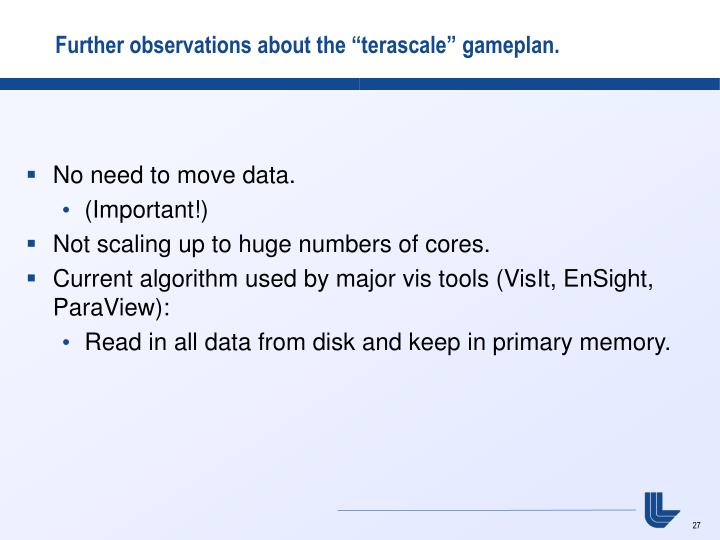 """Further observations about the """"terascale"""" gameplan."""