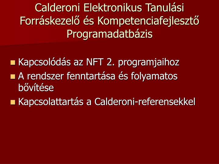 Calderoni Elektronikus Tanulási Forráskezelő és Kompetenciafejlesztő Programadatbázis