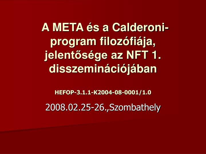 A META és a Calderoni-program filozófiája, jelentősége az NFT 1. disszeminációjában