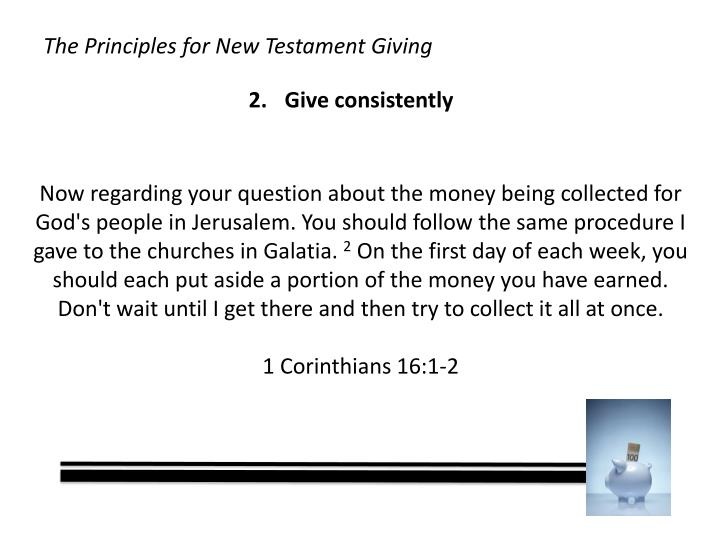 Now regarding your question about the money being collected for God's people in Jerusalem. You should follow the same procedure I gave to the churches in Galatia.