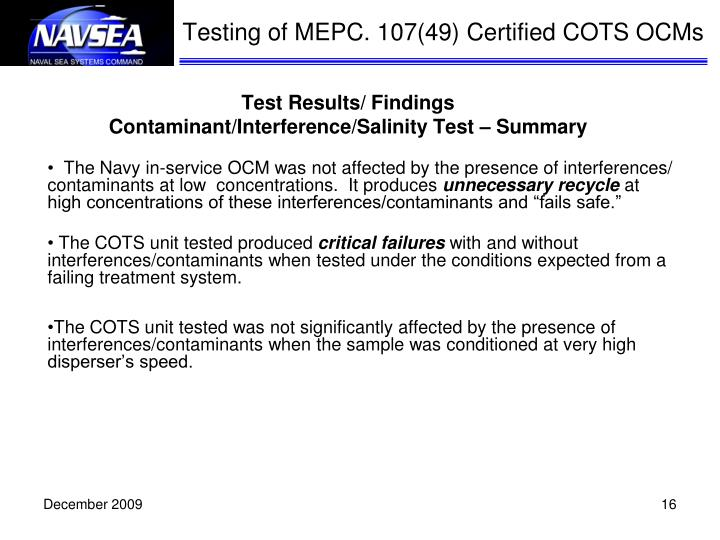 Testing of MEPC. 107(49) Certified COTS OCMs