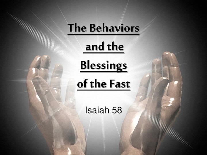 the behaviors and the blessings of the fast