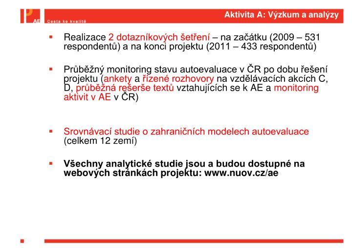 Aktivita A: Výzkum a analýzy