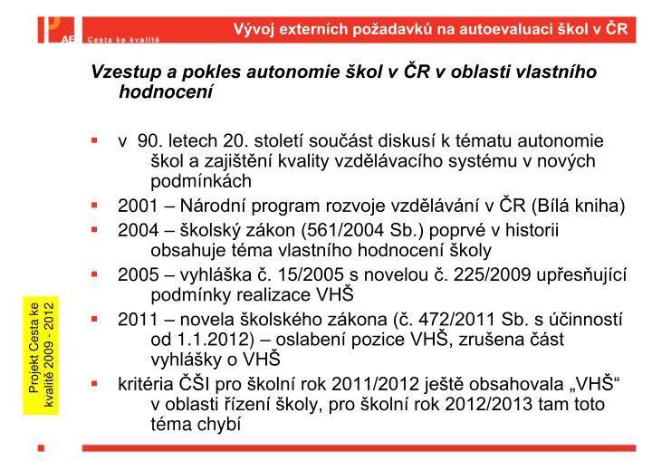 Vývoj externích požadavků na autoevaluaci škol v ČR
