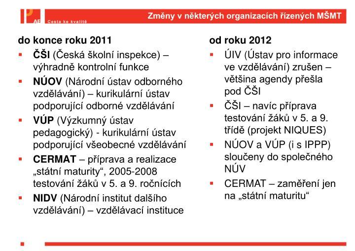 Změny v některých organizacích řízených MŠMT