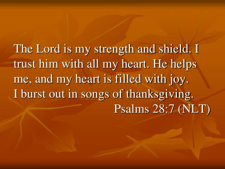 The Lord is my strength and shield. I trust him with all my heart. He helps me, and my heart is filled with joy.