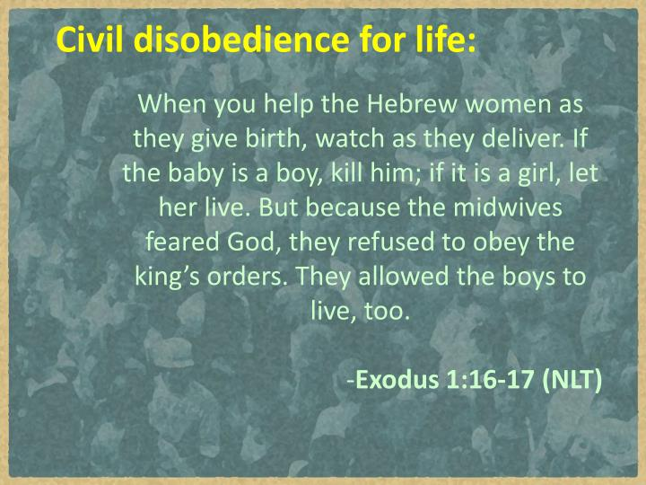 Civil disobedience for life:
