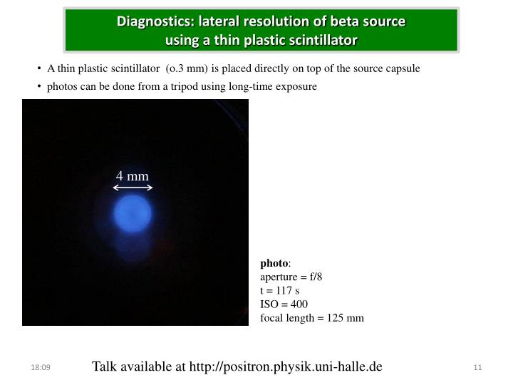 Diagnostics: lateral resolution of beta source