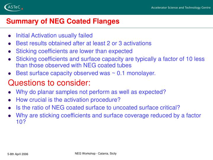 Summary of NEG Coated Flanges