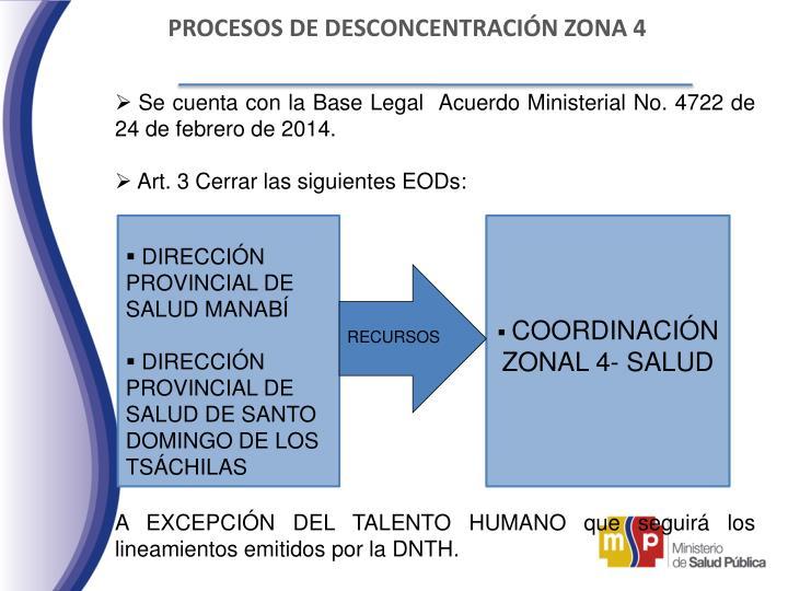 PROCESOS DE DESCONCENTRACIÓN ZONA 4