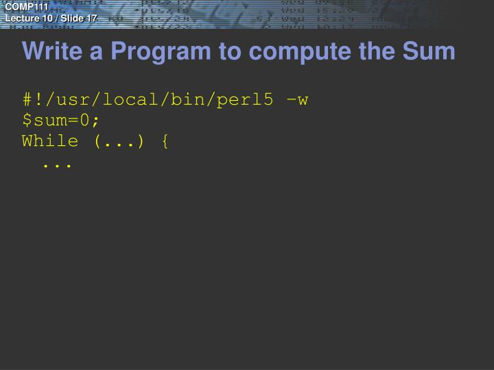 Write a Program to compute the Sum