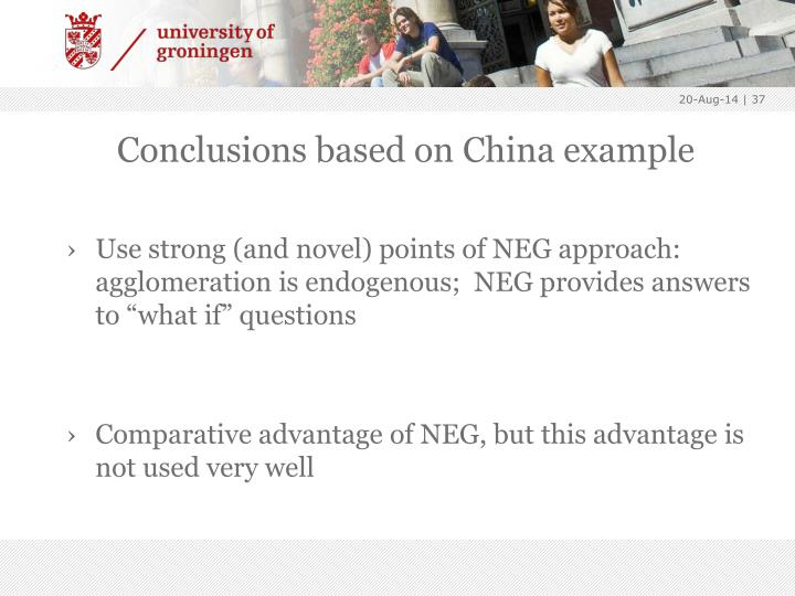 Conclusions based on China example