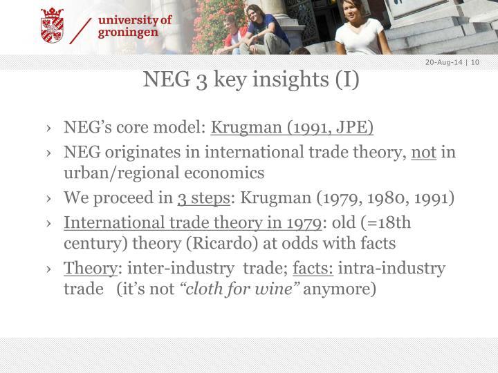 NEG 3 key insights (I)