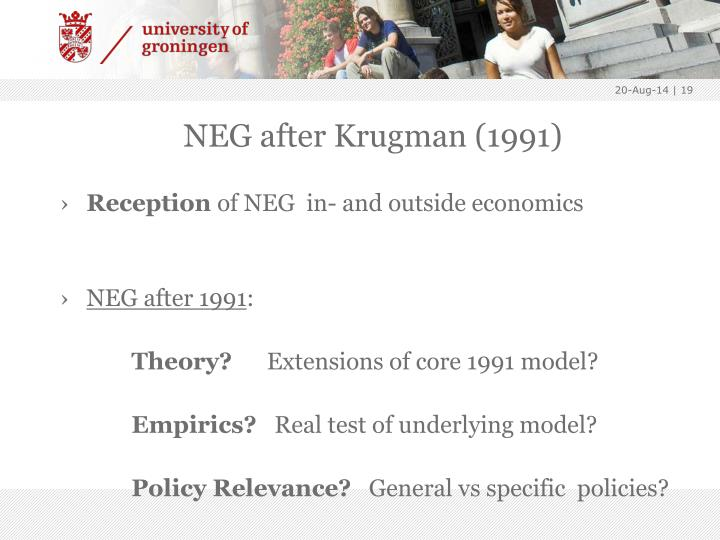 NEG after Krugman (1991)