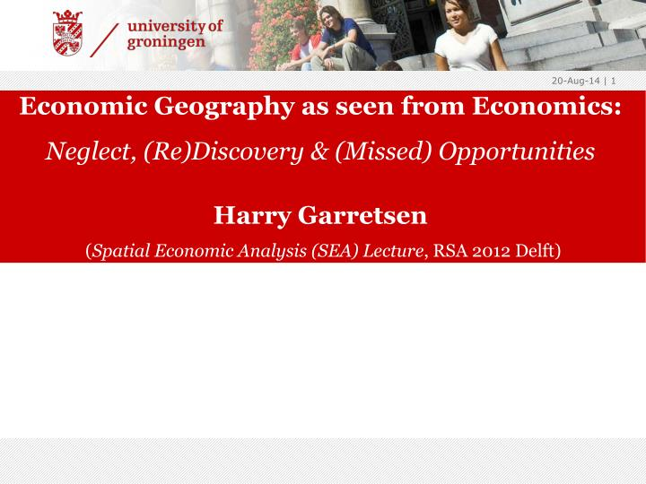 Economic Geography as seen from Economics: