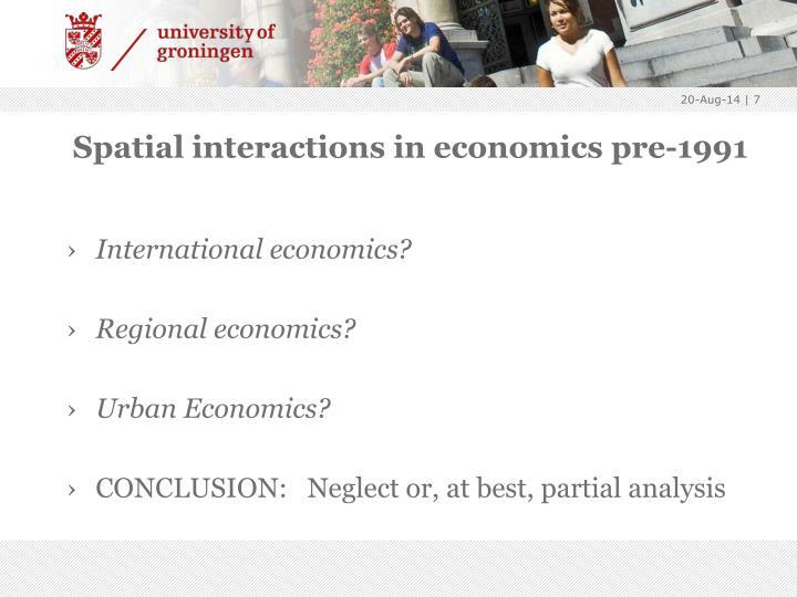 Spatial interactions in economics pre-1991