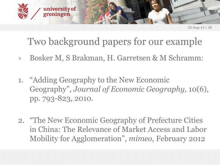 Two background papers for our example
