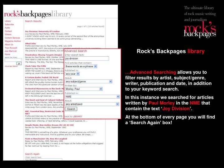 Rock's Backpages