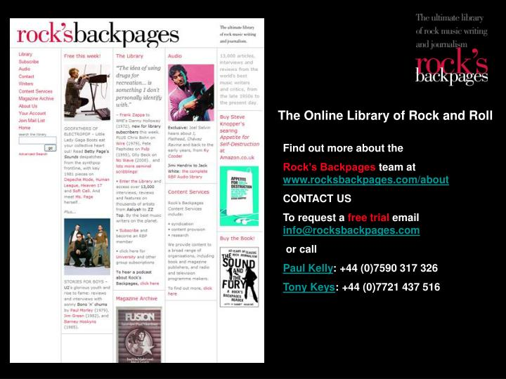 The Online Library of Rock and Roll