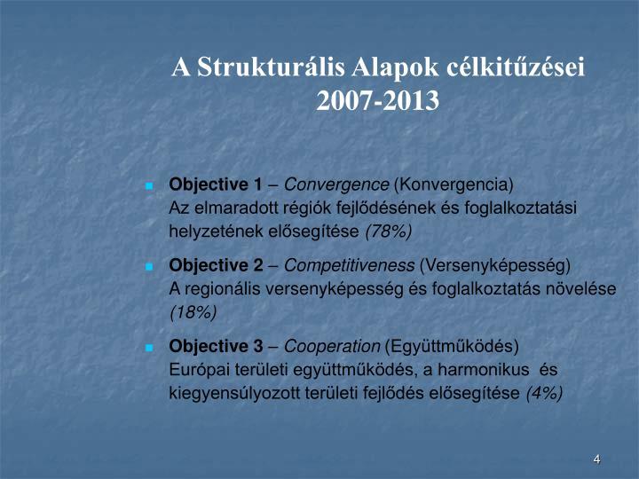 A Strukturális Alapok célkitűzései