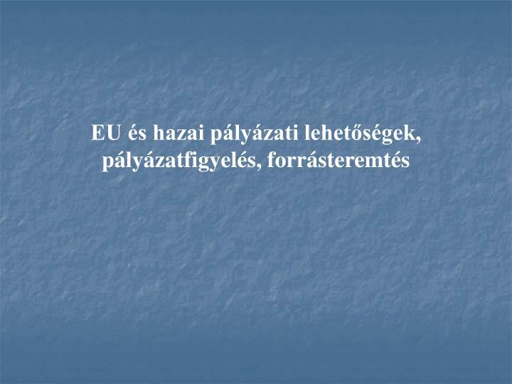EU és hazai pályázati lehetőségek, pályázatfigyelés, forrásteremtés