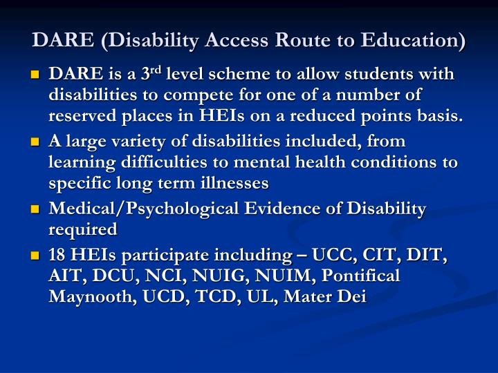 DARE (Disability Access Route to Education)