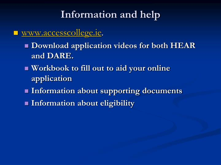 Information and help