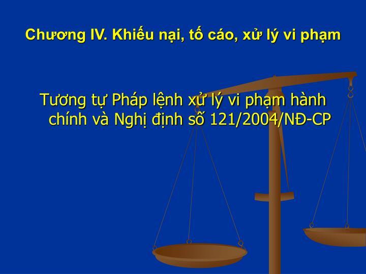 Chương IV. Khiếu nại, tố cáo, xử lý vi phạm