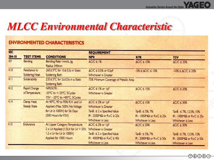 MLCC Environmental Characteristic