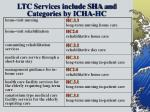 ltc services include sha and categories by icha hc