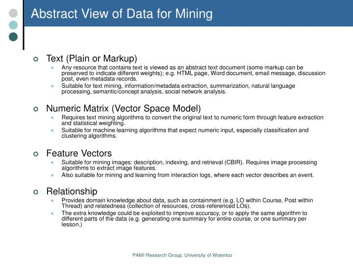 Abstract View of Data for Mining