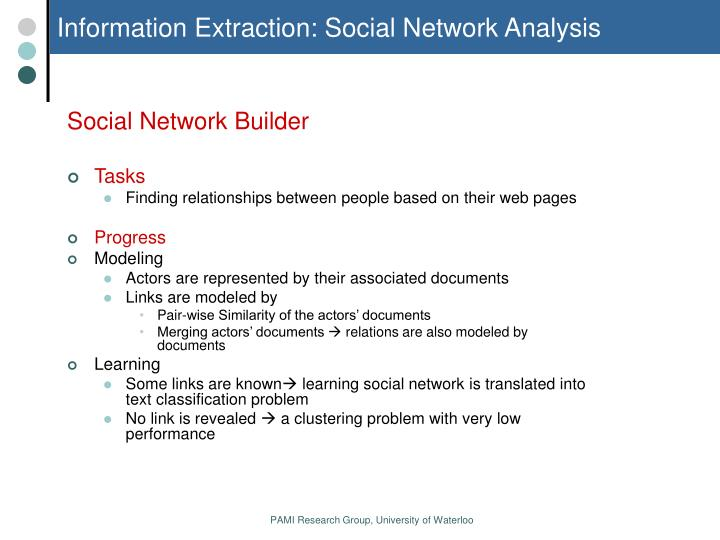 Information Extraction: Social Network Analysis