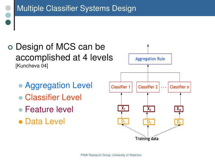 Multiple Classifier Systems Design