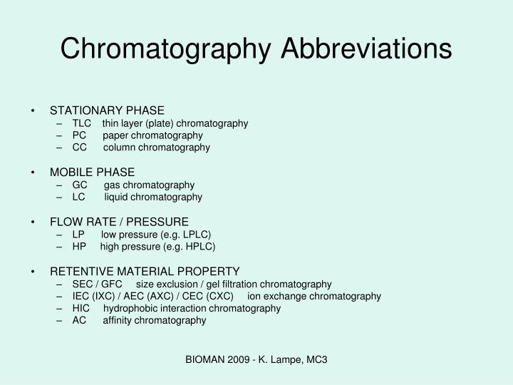 Chromatography Abbreviations