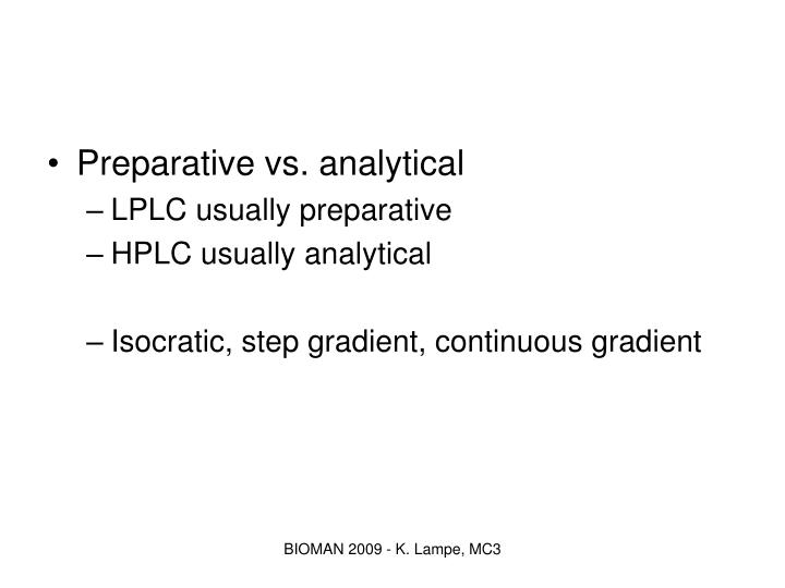 Preparative vs. analytical