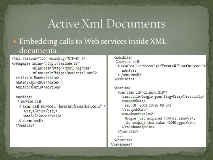 Active Xml Documents